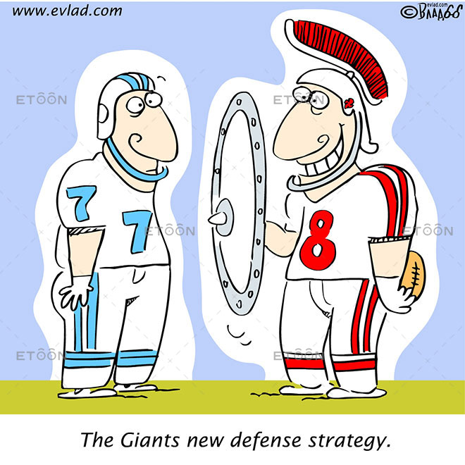 The Giants new defense strategy.: eToon cartoon for newsletters, presentations, websites, books and more