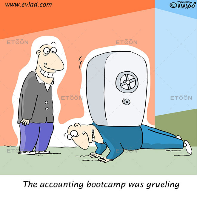 The accounting bootcamp was grueling: eToon cartoon for newsletters, presentations, websites, books and more