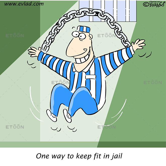 Jail aerobics: One way to keep fit in jail: eToon cartoon for newsletters, presentations, websites, books and more
