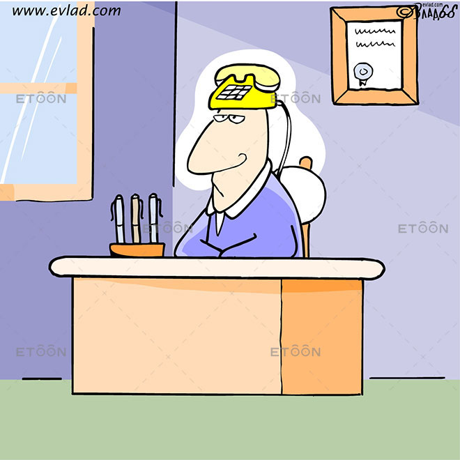 Man in an office with phone on his head: eToon cartoon for newsletters, presentations, websites, books and more