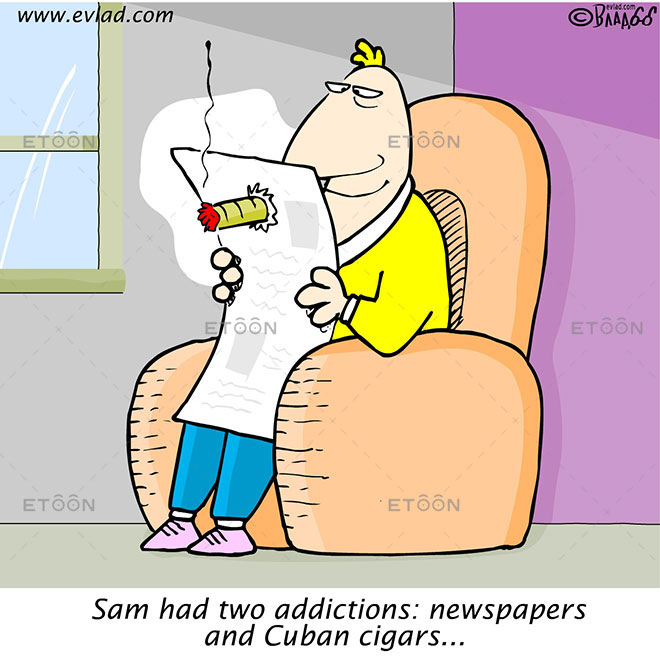 Sam had two addictions: newspapers and Cuban cigars...: eToon cartoon for newsletters, presentations, websites, books and more