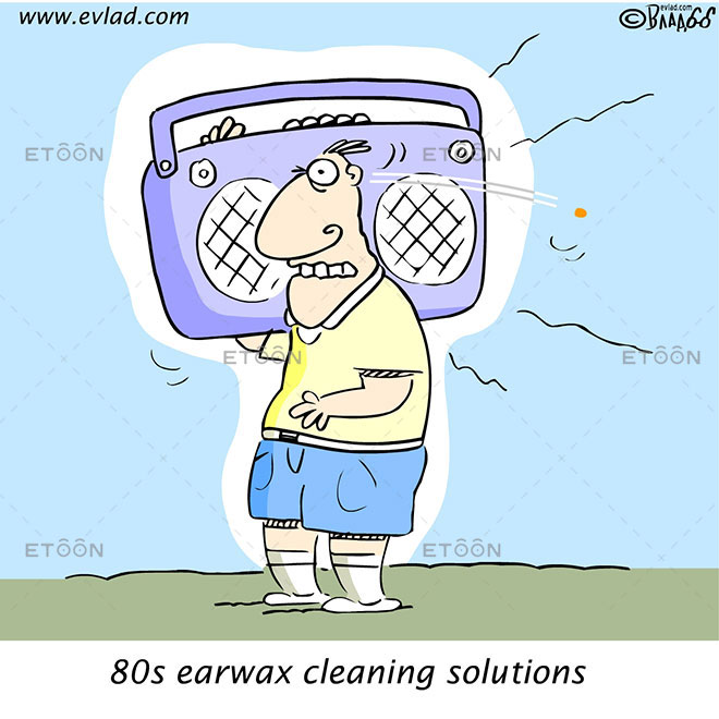 80s earwax cleaning solutions: eToon cartoon for newsletters, presentations, websites, books and more