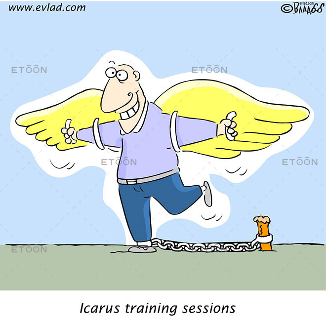 Man with wax wings: Icarus training sessions: eToon cartoon for newsletters, presentations, websites, books and more