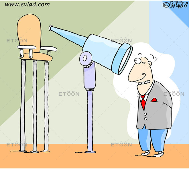 Man looking through the opposite end of a telescope: eToon cartoon for newsletters, presentations, websites, books and more