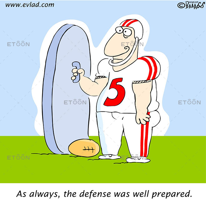As always, the defense was well prepared.: eToon cartoon for newsletters, presentations, websites, books and more