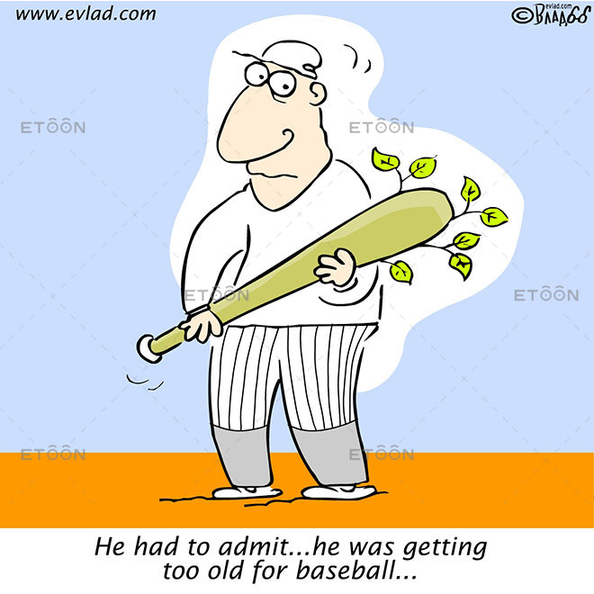 He had to admit...he was getting too old for baseball...: eToon cartoon for newsletters, presentations, websites, books and more