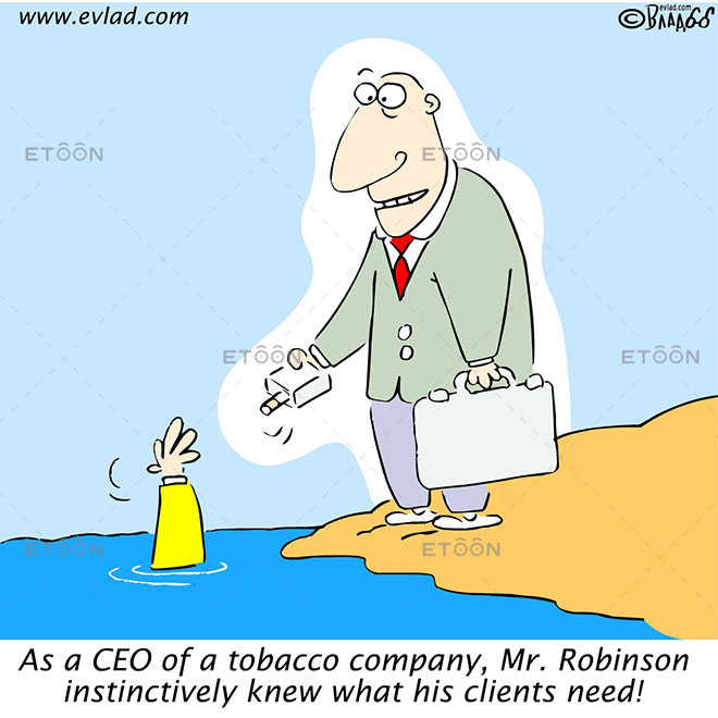 As a CEO of a tobacco company, Mr. Robinson...: eToon cartoon for newsletters, presentations, websites, books and more