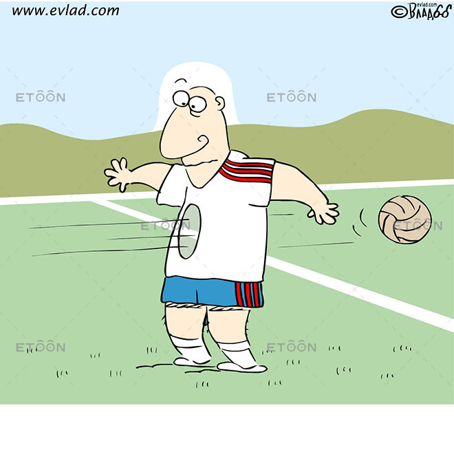 Soccer player looking at the hole...: eToon cartoon for newsletters, presentations, websites, books and more
