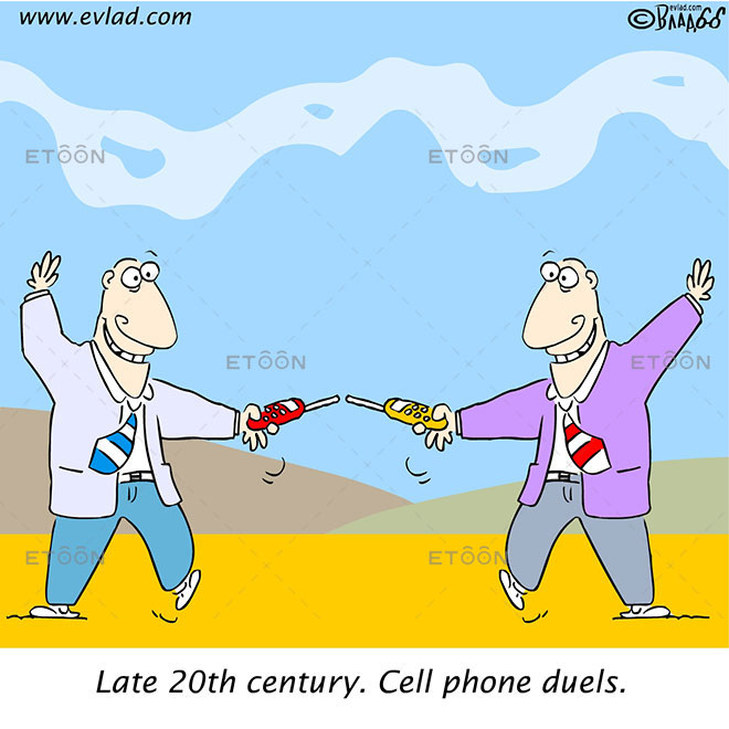 Late 20th century. Cell phone duels.: eToon cartoon for newsletters, presentations, websites, books and more