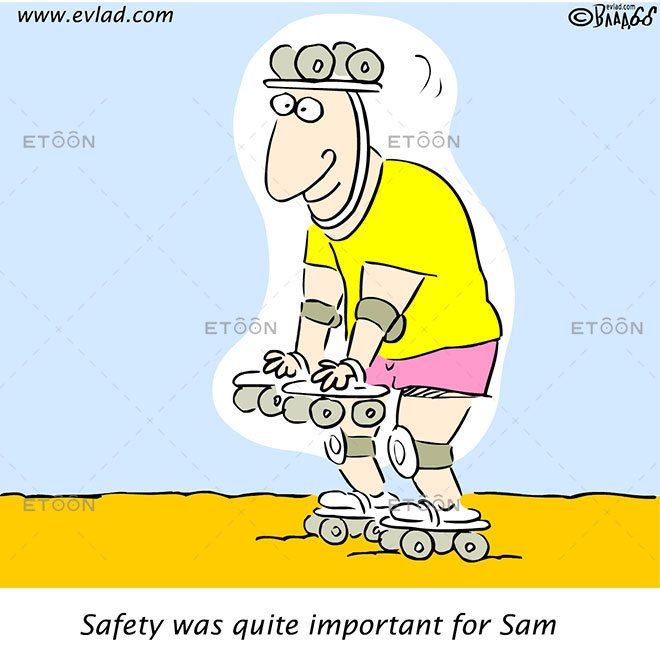 Roller skating: Safety was quite important for Sam: eToon cartoon for newsletters, presentations, websites, books and more