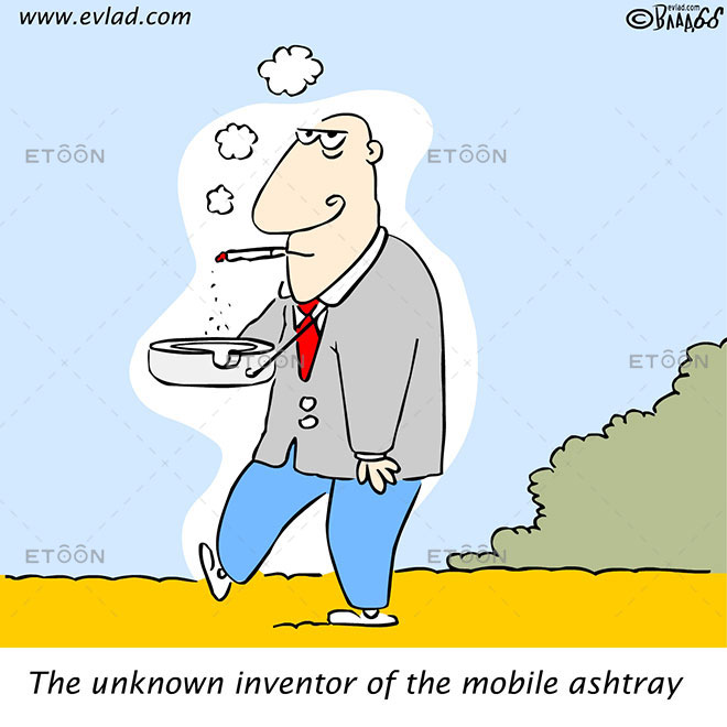 Heavy smoker with an ash tray around his neck...: eToon cartoon for newsletters, presentations, websites, books and more