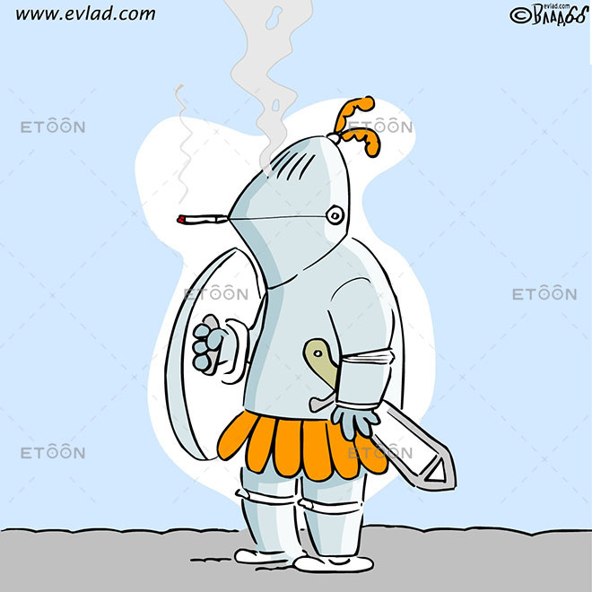 A knight in armor smoking a cigarette: eToon cartoon for newsletters, presentations, websites, books and more