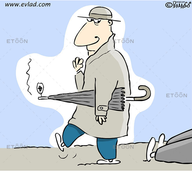 A secret service agent with a smoking umbrella: eToon cartoon for newsletters, presentations, websites, books and more