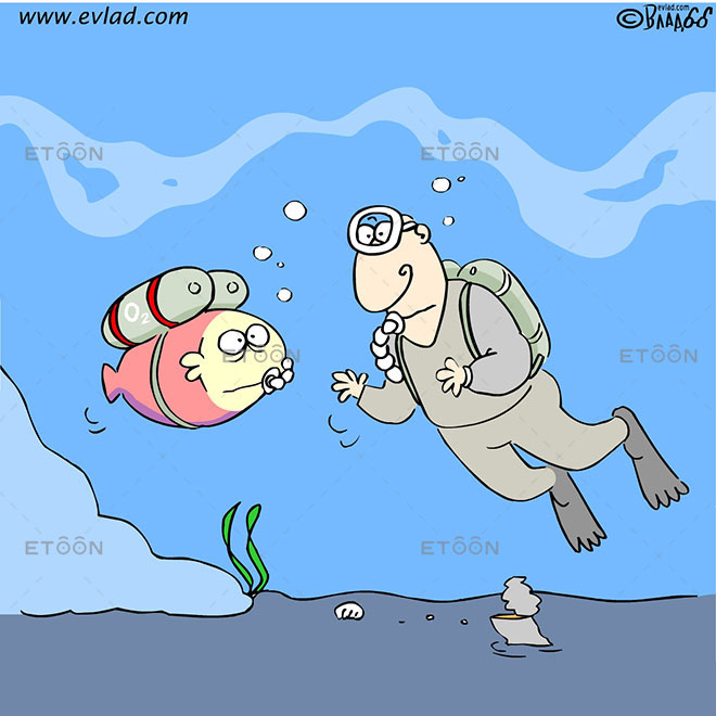 Scuba diver looking at a fish with an oxygen mask: eToon cartoon for newsletters, presentations, websites, books and more