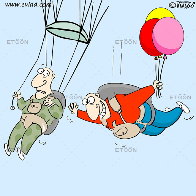 A parachutist with balloons in his hand: eToon cartoon for newsletters, presentations, websites, books and more