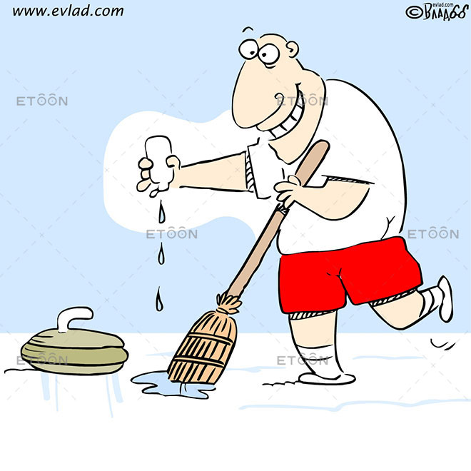 Curling player putting oil on his broom: eToon cartoon for newsletters, presentations, websites, books and more