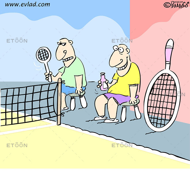 Tennis player with a huge tennis racket: eToon cartoon for newsletters, presentations, websites, books and more