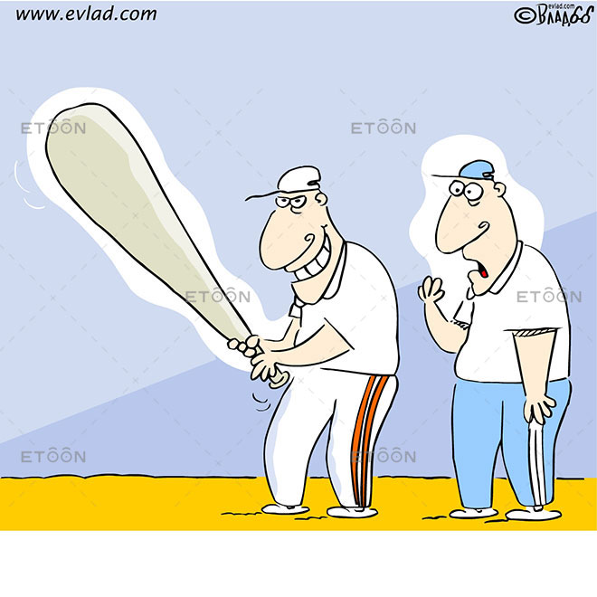 Baseball player with a huge bat: eToon cartoon for newsletters, presentations, websites, books and more