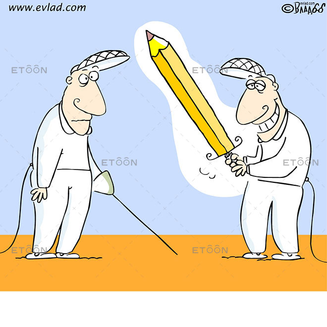 Fencing: Men with a big pencil: eToon cartoon for newsletters, presentations, websites, books and more