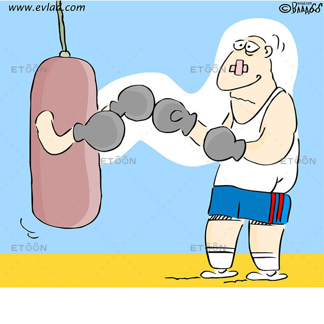 Boxing: Heavy Bag with boxing gloves: eToon cartoon for newsletters, presentations, websites, books and more