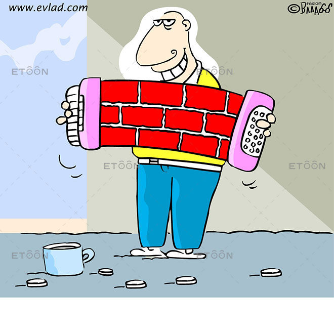 Man playing accordion on the street: eToon cartoon for newsletters, presentations, websites, books and more