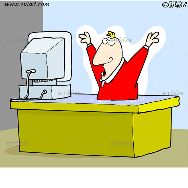 Man sinking in his office desk: eToon cartoon for newsletters, presentations, websites, books and more