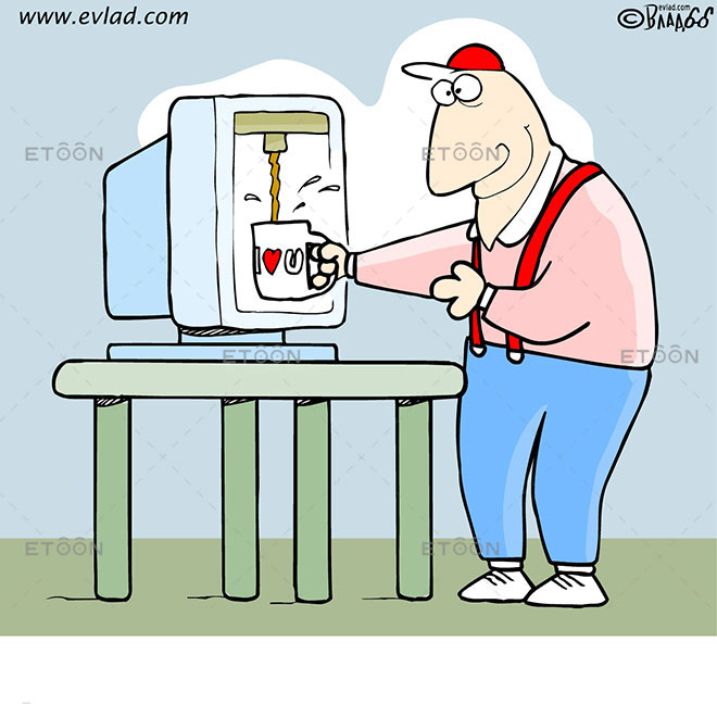Man getting coffee from a computer: eToon cartoon for newsletters, presentations, websites, books and more
