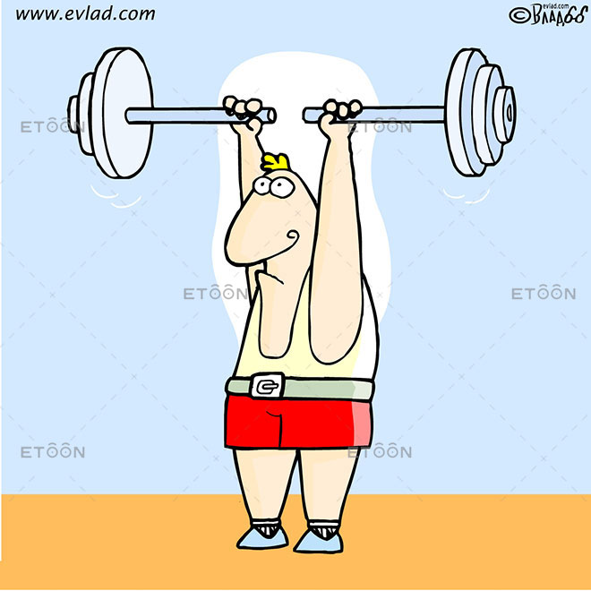 Weight lifter: eToon cartoon for newsletters, presentations, websites, books and more