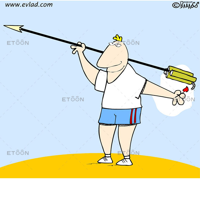 Spear throwing: eToon cartoon for newsletters, presentations, websites, books and more