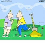 Santa dreaming of a golf game: eToon cartoon for newsletters, presentations, websites, books and more