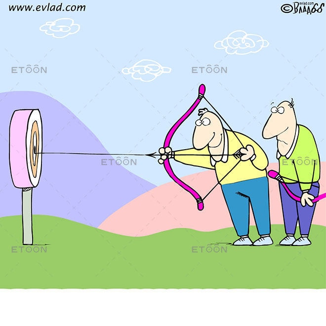 Target shooting an arrow: eToon cartoon for newsletters, presentations, websites, books and more