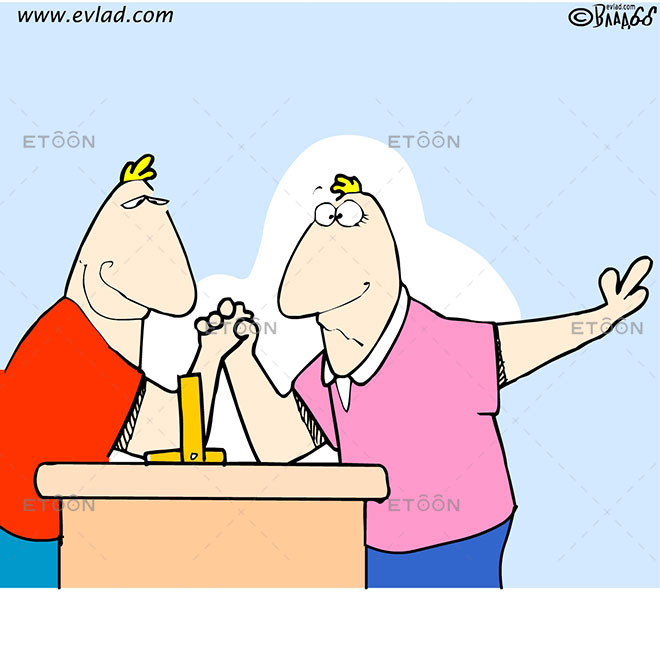 ARM WRESTLING: eToon cartoon for newsletters, presentations, websites, books and more