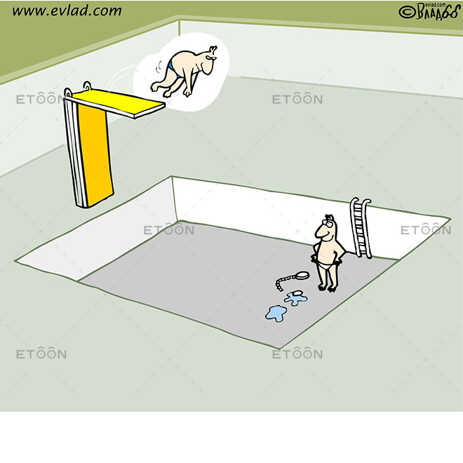 Man jumping in an empty pool: eToon cartoon for newsletters, presentations, websites, books and more