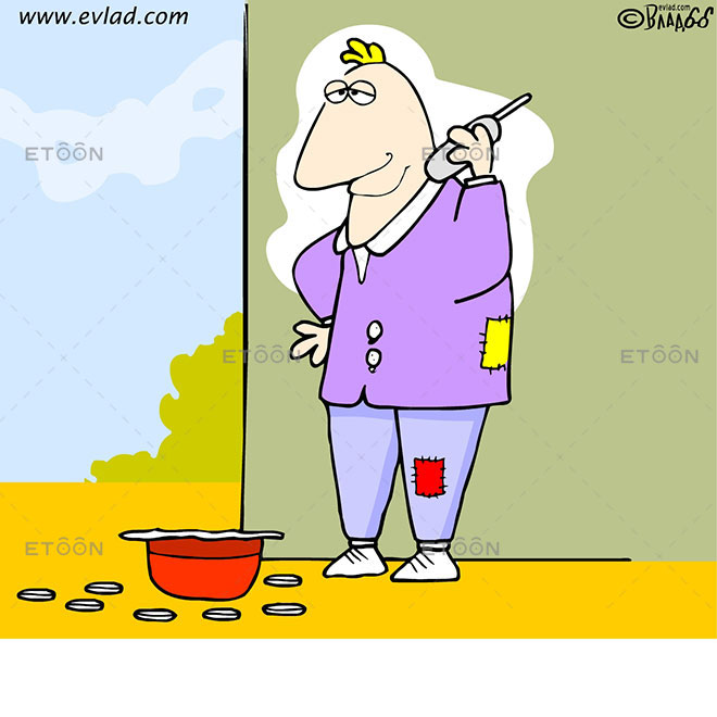 Man with a cell phone asking for change: eToon cartoon for newsletters, presentations, websites, books and more
