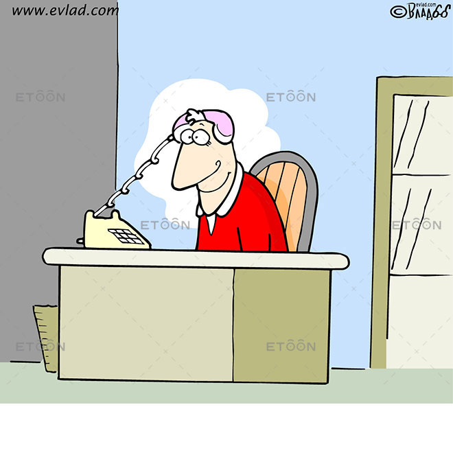 Man at a desk with a phone on his head: eToon cartoon for newsletters, presentations, websites, books and more