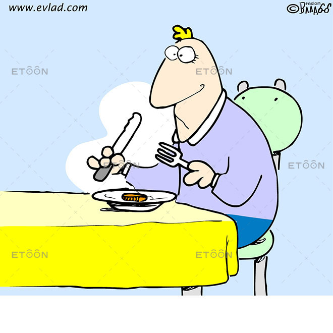 Man eating a coin: eToon cartoon for newsletters, presentations, websites, books and more