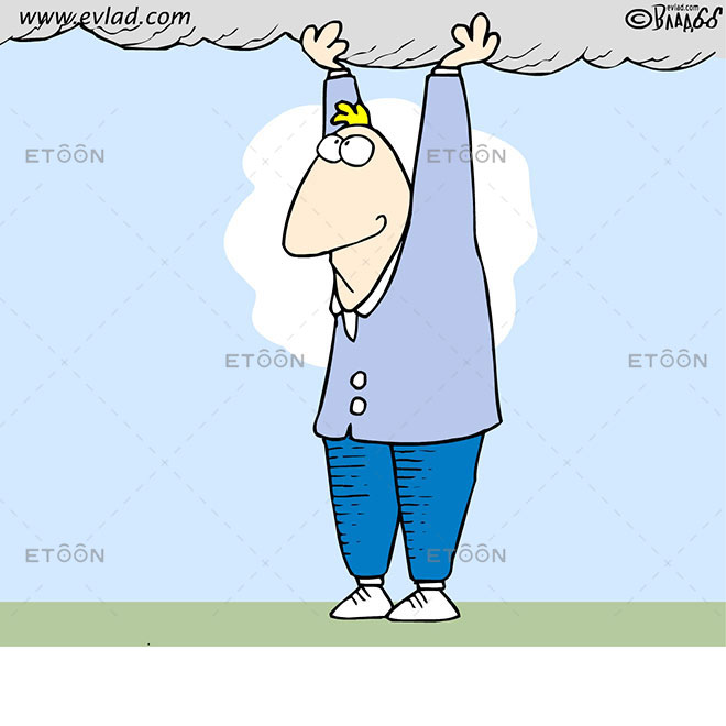 Man holding a cloud: eToon cartoon for newsletters, presentations, websites, books and more