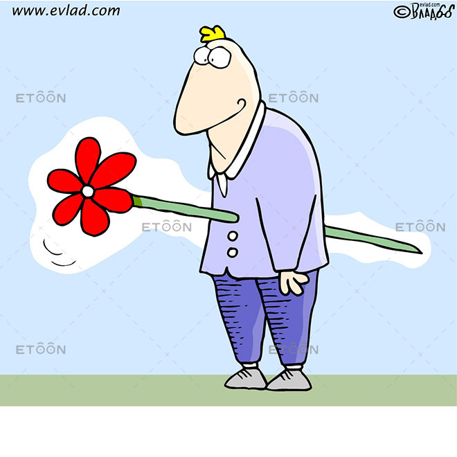 Man pinned with a huge flower: eToon cartoon for newsletters, presentations, websites, books and more