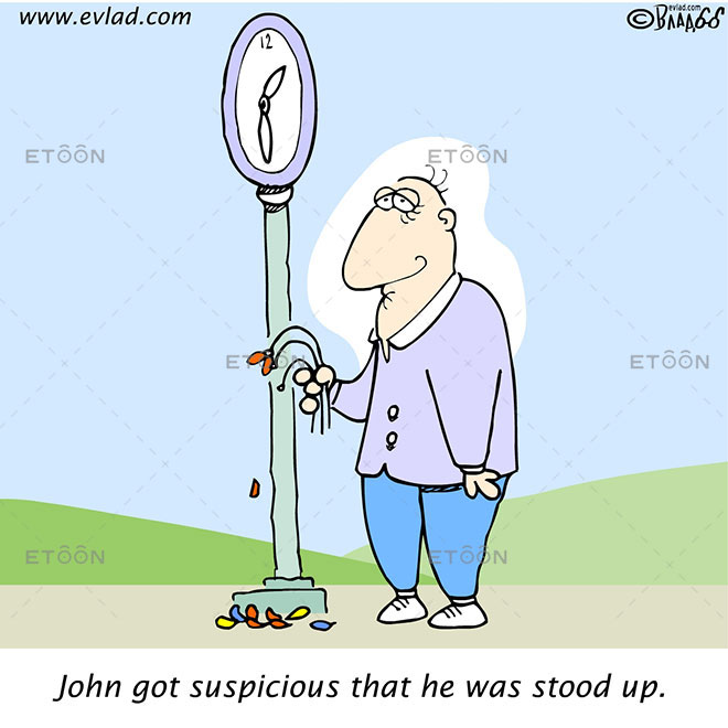 John got suspicious that he was stood up.: eToon cartoon for newsletters, presentations, websites, books and more