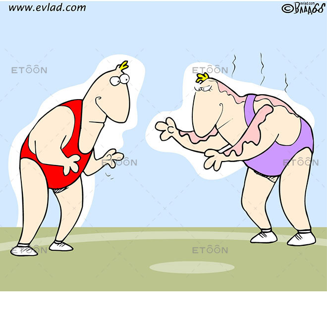 Two wrestlers. One of them is covered with oil: eToon cartoon for newsletters, presentations, websites, books and more