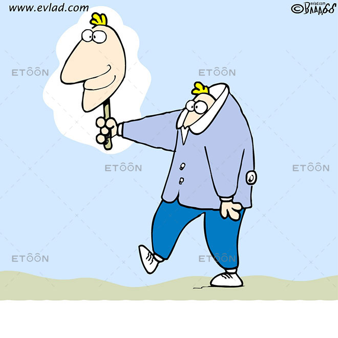 Man walking with a head on a stick: eToon cartoon for newsletters, presentations, websites, books and more
