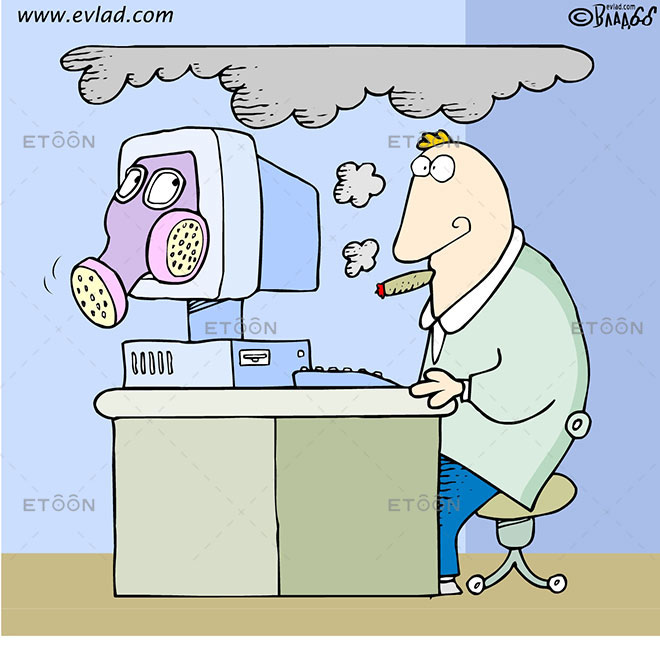 Computer with a gas mask...: eToon cartoon for newsletters, presentations, websites, books and more