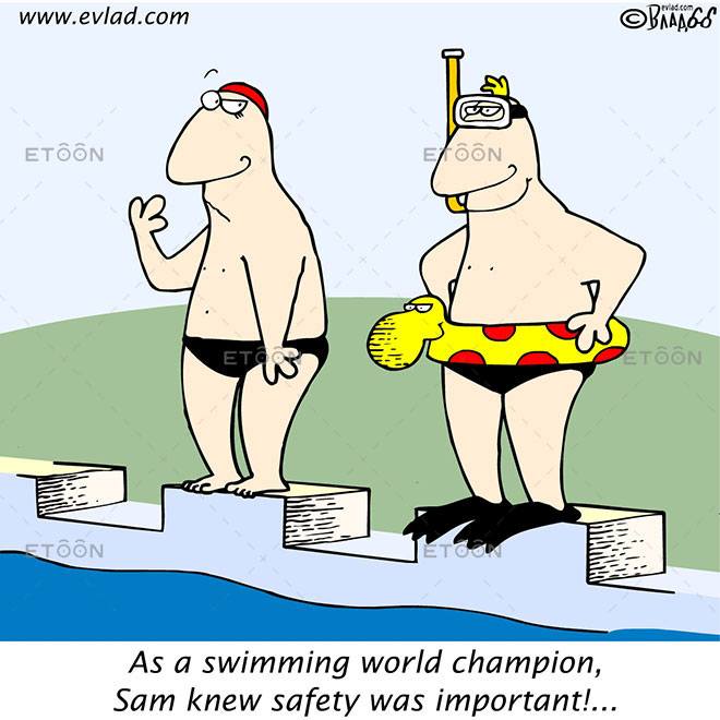 As a swimming world champion...: eToon cartoon for newsletters, presentations, websites, books and more