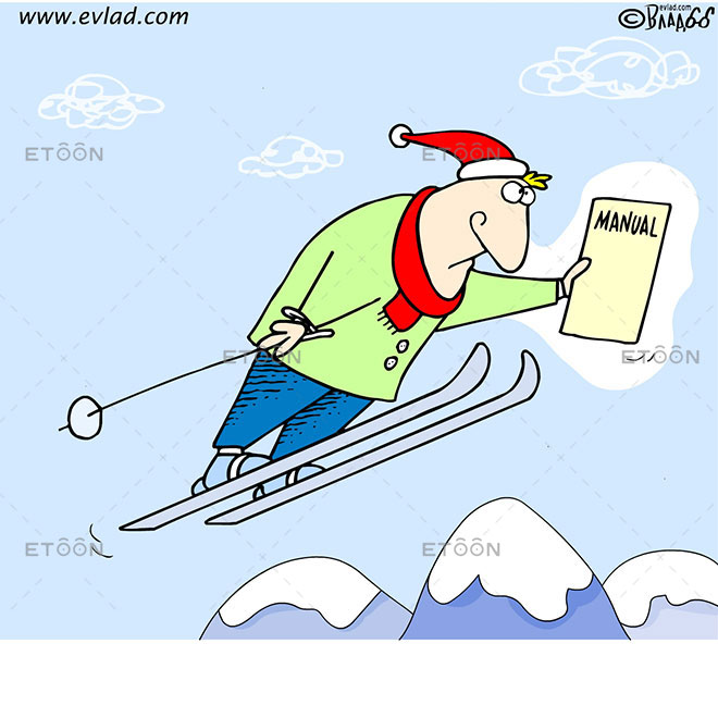 Man holding a Manual while ski jumping: eToon cartoon for newsletters, presentations, websites, books and more