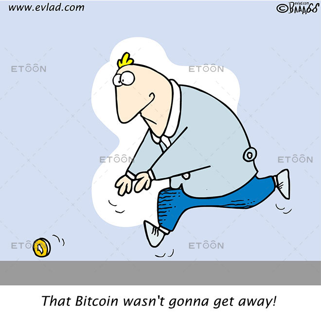 Man chasing after a coin...: eToon cartoon for newsletters, presentations, websites, books and more