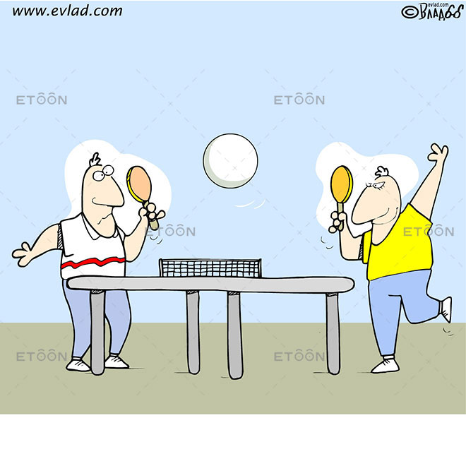 Men playing table tennis with a huge tennis ball: eToon cartoon for newsletters, presentations, websites, books and more