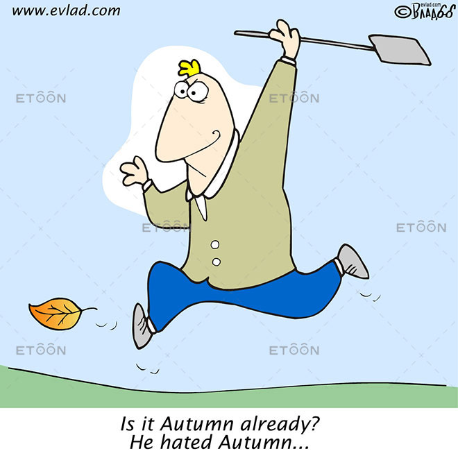 Autumn. Man chasing after a leaf...: eToon cartoon for newsletters, presentations, websites, books and more