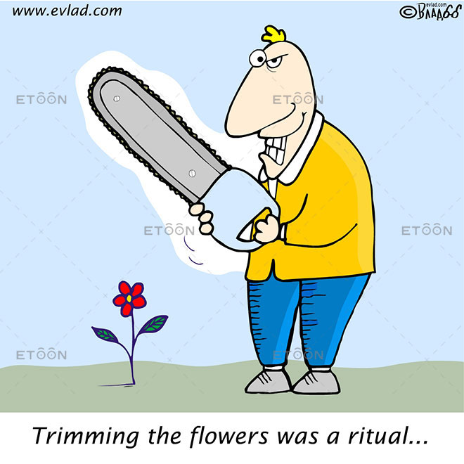 Trimming the flowers was a ritual: eToon cartoon for newsletters, presentations, websites, books and more