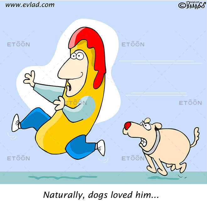 A dog chasing after a man...: eToon cartoon for newsletters, presentations, websites, books and more