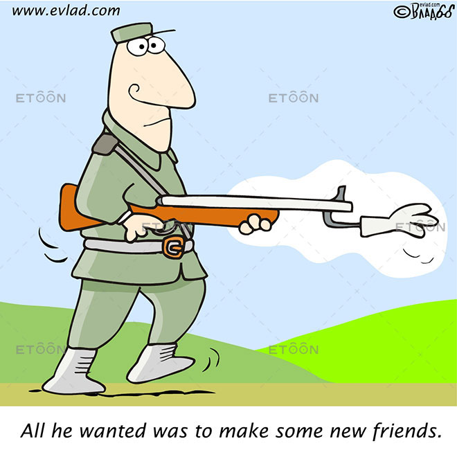 Soldier: All he wanted was to make some new friends.: eToon cartoon for newsletters, presentations, websites, books and more